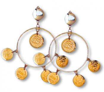 Dangling Hoop Earrings with Coins