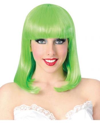 Neongrüne Damen Perücke glatt