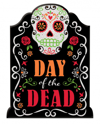 Day Of The Dead Sign With Glitter Writing