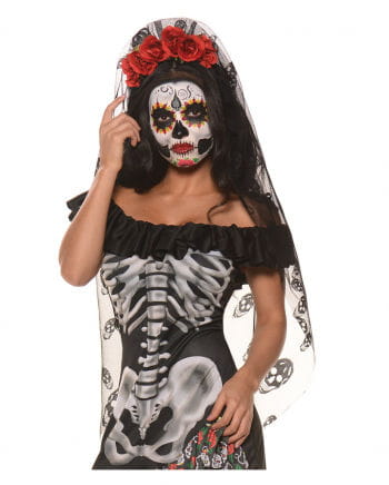 Day Of The Dead Hairband Red Roses