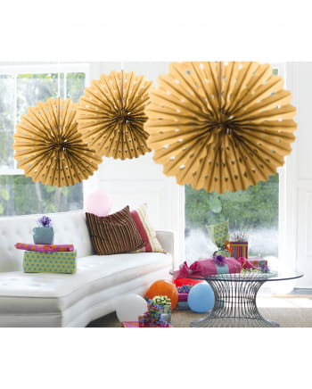 Decorative Fan Honeycomb Gold 45cm
