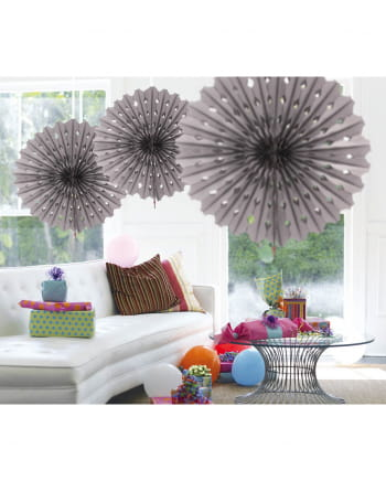 Decorative Fan Honeycomb Paper Silver 45cm