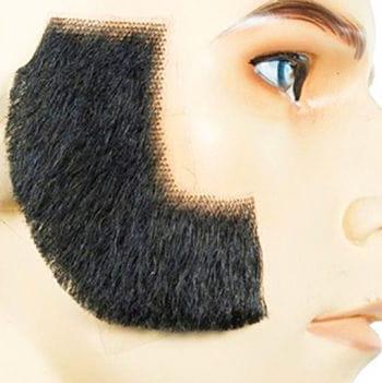 Real Hair Sideburns Deluxe Black