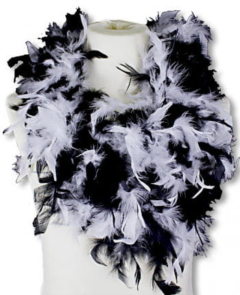 Feather Boa White Black Deluxe