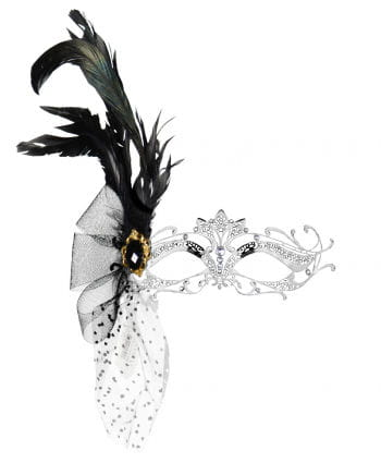 Intricate metal eye mask with rhinestones and feathers