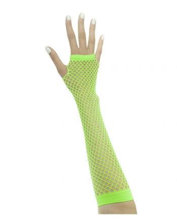 Fingerlose Handschuhe in Netzstruktur Neongrün
