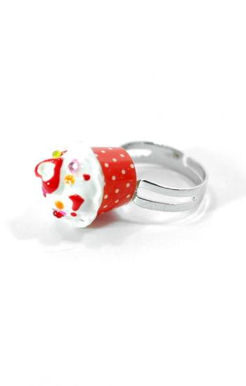 Cupcake Ring Red White