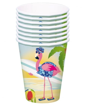 Flamingo paper cups 8 pieces