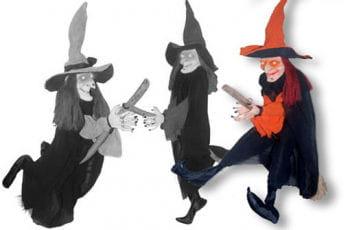 Flying Witch on Broom Orange