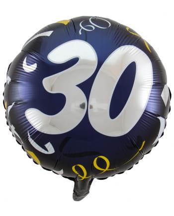 Ballon mit Zahl 30 schwarz-gold 45 cm