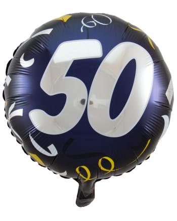 Ballon mit Zahl 50 schwarz-gold 45 cm