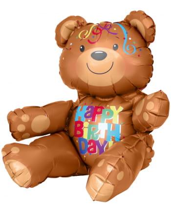 Foil Balloon Sitting Happy Birthday Bear