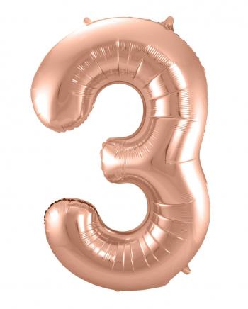 Folienballon Zahl 3 Rose Gold