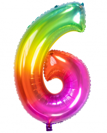 Regenbogen Folienballon Zahl 6