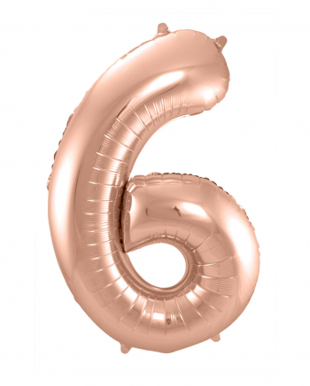 Folienballon Zahl 6 Rose Gold