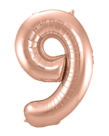 Foil Balloon Number 9 Rose Gold