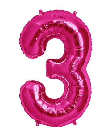 Folienballon Zahl 3 Pink