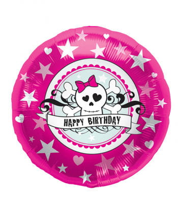 Foil balloon Happy Birthday Pink Skully