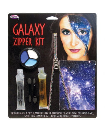 Galaxy zipper wound with star tattoo
