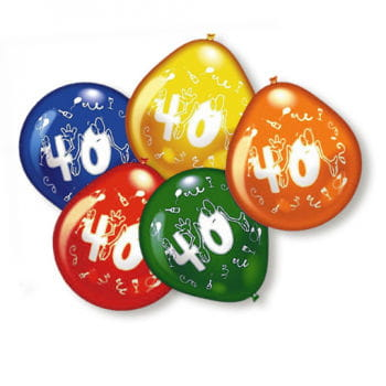 10 Bunte Luftballons 40. Geburtstag