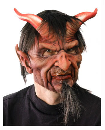 Horned devil mask with hair