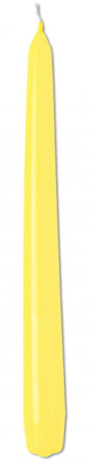 Yellow Pointed Candle 25cm - 10 Pcs