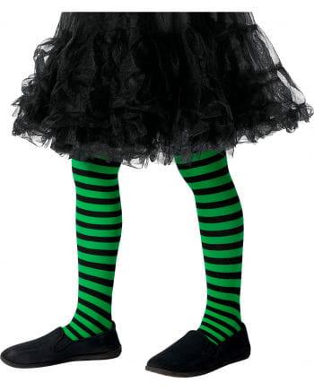 Kinderstrumpfhose grün-schwarz gestreift