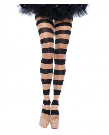 Striped Pantyhose Nude-Black