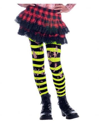 Gestreifte Neon Strumpfhose im Punk Style