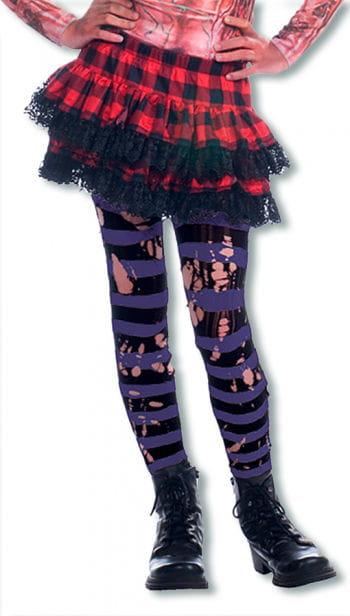 Tattered Striped Tights Black / Purple