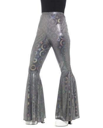 Silbern glänzende Damen Schlaghose