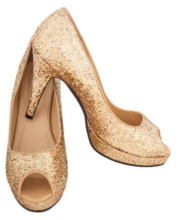 Glitter Peep Toe Pumps Gold