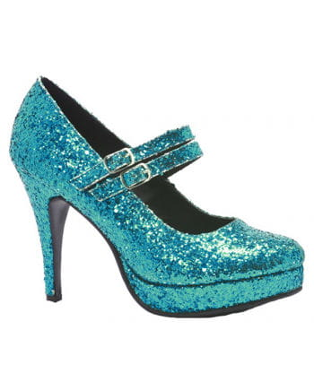 Glitzernde Mary Janes Pumps blau