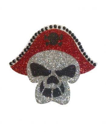 Glitzer Piraten Totenschädel Tattoo mit Dreispitz
