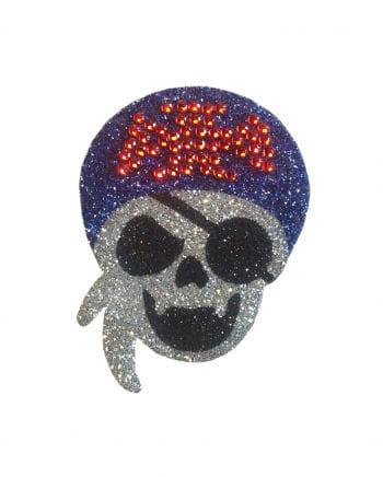 Glitzer Piraten-Totenschädel-Tattoo Augenklappe