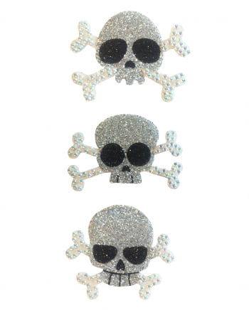 Glitter Tattoo Pirate skull silver