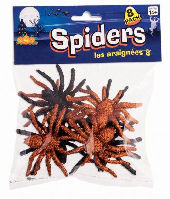 Glitter Spinnen schwarz-orange 8 St.