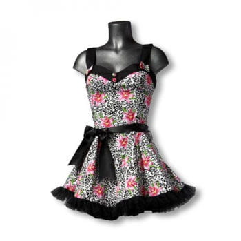 Mini Dress with Lily Print L