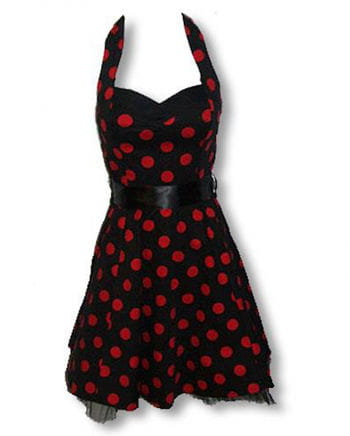 schwarz rotes Polka Dot Kleid L