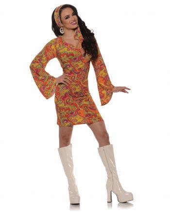 GoGo Hippie Mini Kleid orange Large