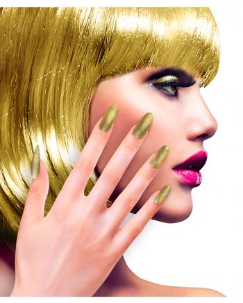 Glitzer Fingernägel Gold Selbstklebend 12 St.