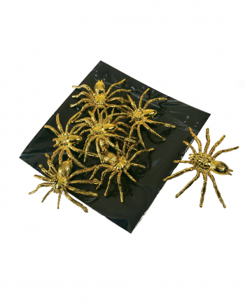 Golden Decoration Spiders 8 Pcs.