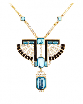 Gold Pharaonen Kette mit Topas & Strass Steinen