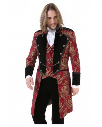 Gothic Aristokrat Herren Mantel Gold Rot Brokat