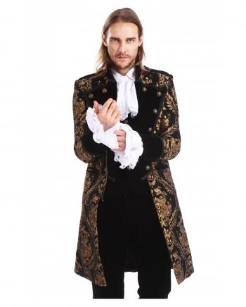 Gothic Aristokrat Herren Mantel Gold Brokat