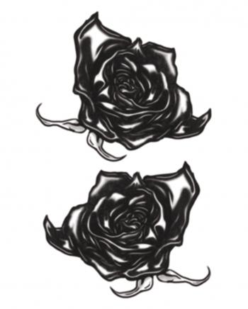 Gothic Klebetattoo schwarze Rosen