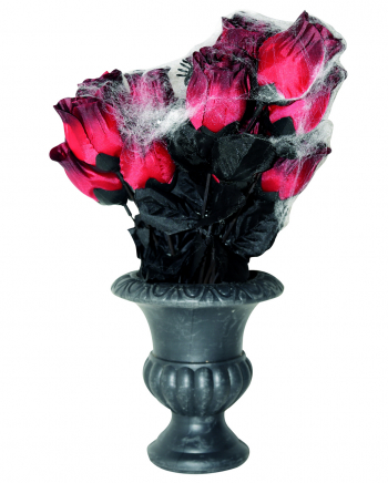 Gothic Vase With Roses & Cobwebs