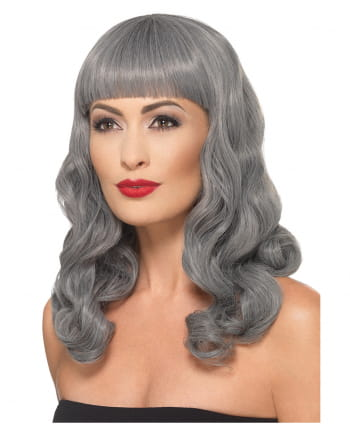 Grey Wavy Wig With Pony Deluxe