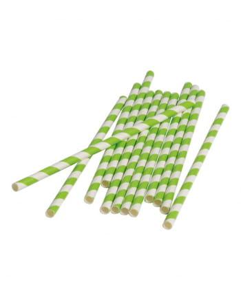 12 Papier Trinkhalme Grün Weiß