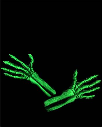 Green Skeleton Gloves UV Active
